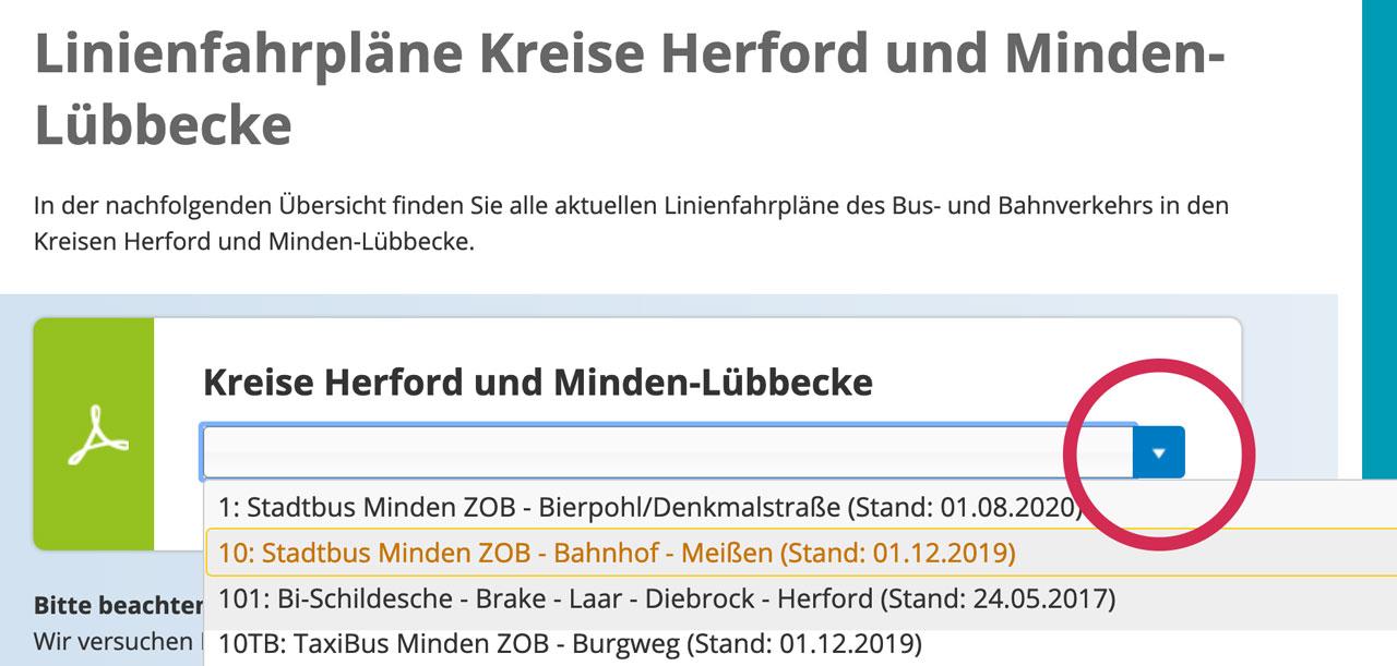 OWL Mobil · Für Mobilität in den Kreisen Minden-Lübbecke, Herford und Gütersloh · Anleitung Fundsachen Linienplan